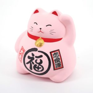 Maneki Neko Rose en Argile - Chat Japonais - Tirelire par art-saigon.com