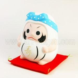 daruma porte bonheur japonais japon argile blanc decoration asiatique art-saigon