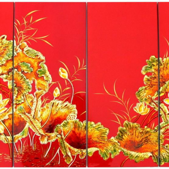tableau en bois laque artisanat vietnam art-saigon paysage fleur de lotus traditionnel