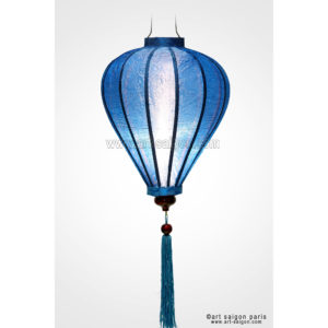 lampion lanterne bleu soie bambou hoi an vietnam asiatique art-saigon