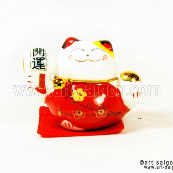 maneki-neko-rouge-chat-japonais-maneki neko chat porte bonheur japonais japon porcelaine blanc decoration asiatique art-saigon rouge