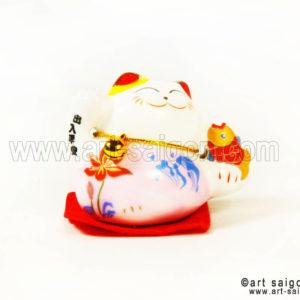 maneki neko chat porte bonheur japonais japon porcelaine blanc decoration asiatique art-saigon rose