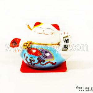 maneki neko chat porte bonheur japonais japon porcelaine blanc decoration asiatique art-saigon bleu