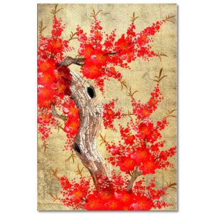 tableau en bois laque artisanat vietnam art-saigon fleur prunier rouge