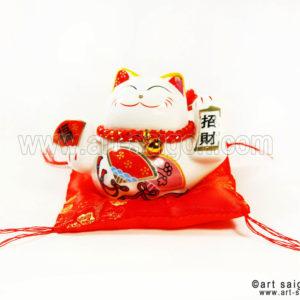 maneki neko chat porte bonheur japonais japon porcelaine blanc decoration asiatique art-saigon