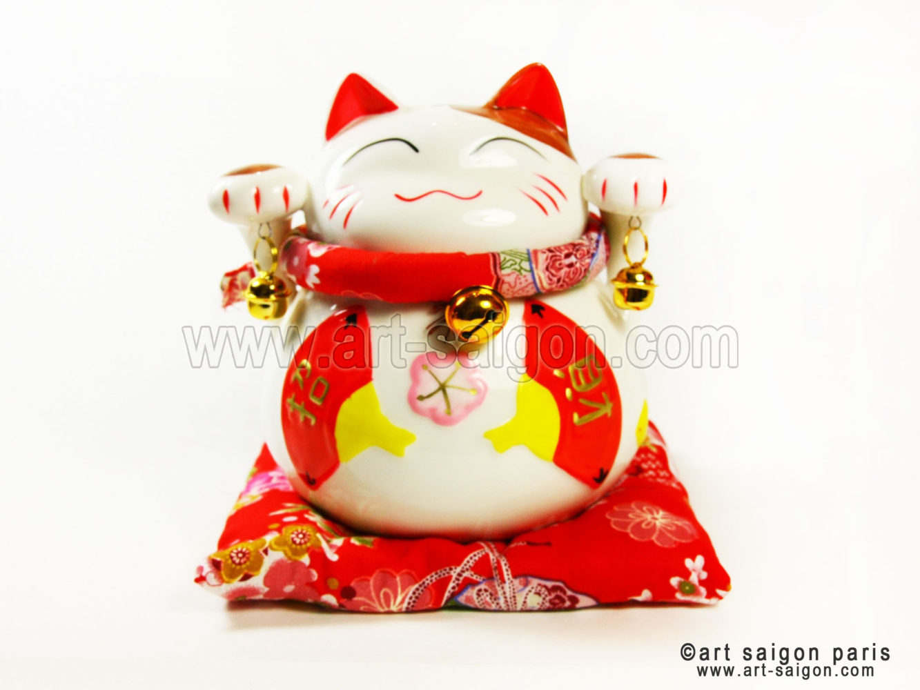 maneki neko chat porte bonheur japonais japon porcelaine blanc decoration asiatique art-saigon