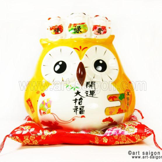 hiboux porte bonheur japonais japon porcelaine blanc decoration asiatique art-saigon