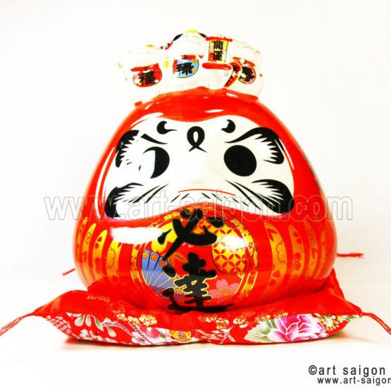 daruma porte bonheur japonais japon porcelaine blanc decoration asiatique art-saigon