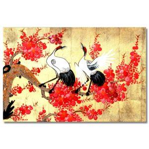 tableau en bois laque artisanat vietnam art-saigon fleur prunier grue