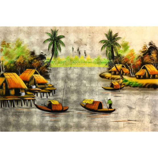 tableau en bois laque artisanat vietnam art-saigon paysage campagne traditionnel
