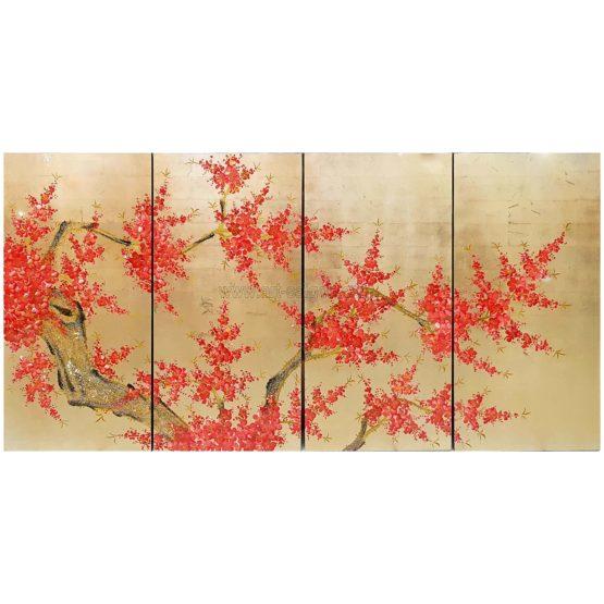 tableau en bois laque artisanat vietnam art-saigon fleur prunier doré