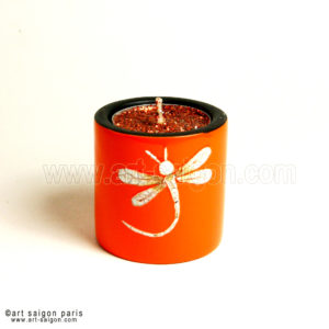 Bougeoir Laqué Libellule orange art saigon vietnam