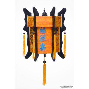 lampion lanterne orange dragon brodé soie bambou hoi an vietnam asiatique art-saigon