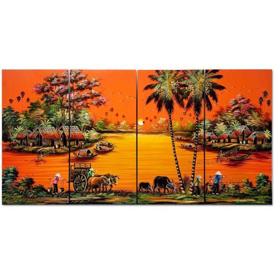 tableau en bois laque artisanat vietnam art-saigon campagne