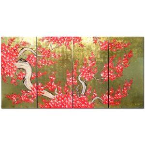 tableau en bois laque artisanat vietnam art-saigon fleur prunier