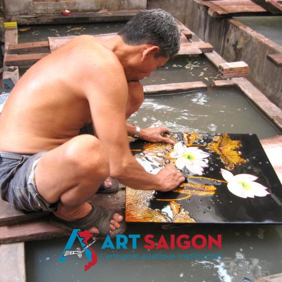 tableau en bois laque artisanat vietnam art-saigon artisan ponceur