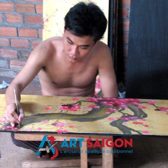 tableau en bois laque artisanat vietnam art-saigon artisan peindre