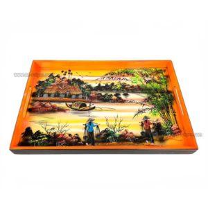 plateau en bois laque artisanat vietnam art-saigon