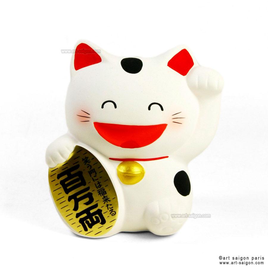 Maneki Neko Blanc en Argile - Chat Japonais - Tirelire par art-saigon.com