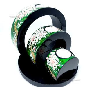 Ensemble de 3 Bougeoirs Rond Laqué Vert - Motif Fleur de Prunier Art Saigon Vietnam Artisanat