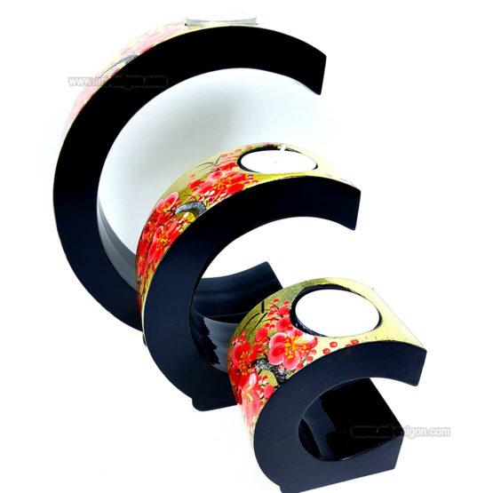 Ensemble de 3 Bougeoirs Laqué Doré en demi-cercle - Motif Fleur de Prunier Art Saigon Vietnam Artisanat