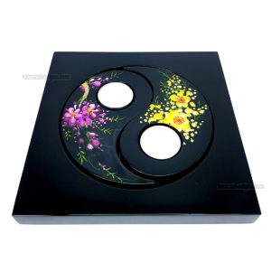Bougeoir Carré Laqué Yin et Yang - Motif Fleur de Prunier art saigon vietnam artisanat