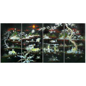 tableau en bois laqué en nacre du vietnam art-saigon