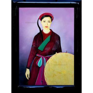 femme vietnamienne tableau en bois laqué artisanat du vietnam par art saigon