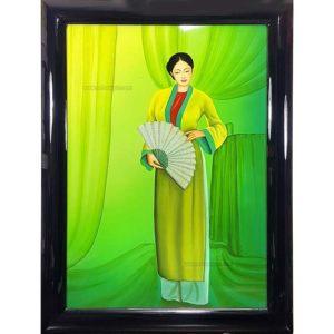 Femme vietnamienne Tableau en bois Laqué Peint artisanat du Vietnam art-saigon