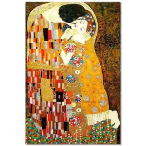 tableau en bois laqué le baiser de Gustav Klimt artisanat du vietnam par art saigon