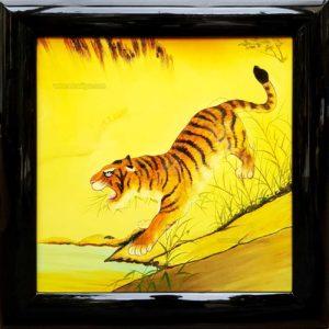 tigre tableau en bois laque artisanat traditionnel du Vietnam par art saigon