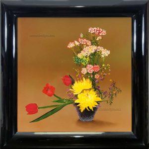 pot de fleur tableau en bois laque artisanat traditionnel du Vietnam par art saigon