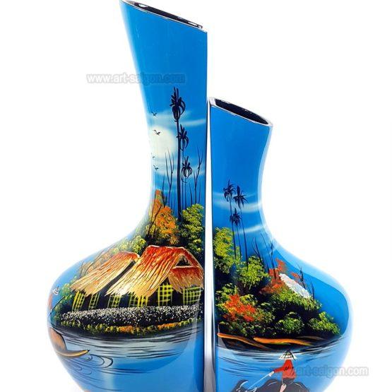 Vase Campagne du Vietnam en bois laqué artisanat traditionnel du Vietnam par Art Saigon