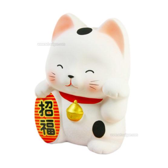Maneki Neko Blanc en Argile Tirelire - Chat Japonais Porte-bonheur par art-saigon.com