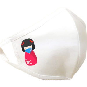 Masque de protection alternative antibactérien en coton lavable - Motif Poupée Kokeshi- couleur Blanc
